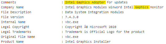 """Intel Gaphics Adopter"", Nah, this sofware is 100% legit no worries. #CRIMSON C2:185[.]244.30[.]102:4590"