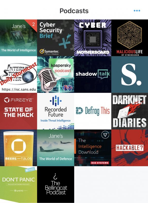 My current #CyberSecurity/#ThreatIntelligence podcast diet. Recommendations and improvements are welcomed.