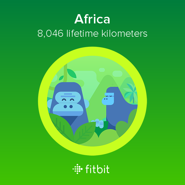 I covered 8,046 kilometers with my #Fitbit and earned the Africa badge.